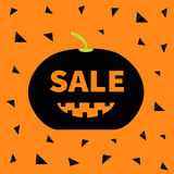 Cute funny smiling pumpkin with teeth. Halloween big sale banner poster card. Flat design. Orange background. Black triangle. Royalty Free Stock Image