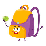Cute and funny smiling school bag, backpack character holding apple Royalty Free Stock Photo