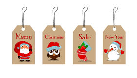 Cute funny Snowman, owlet in Christmas hat, empty Christmas sock with holly berry and Santa Claus with a bag full of gifts. Royalty Free Stock Images