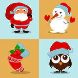 Cute funny Snowman, owlet in Christmas hat, empty Christmas sock with holly berry and Santa Claus with a bag full of gifts. Stock Photos