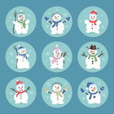 Cute and funny snowmen. Christmas illustrations. Vector set icon Stock Photos