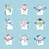 Cute and funny snowmen. Christmas illustrations. Vector set icon Royalty Free Stock Photography