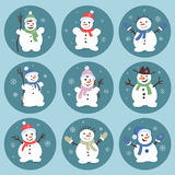Cute and funny snowmen. Christmas illustrations. Vector set icon Royalty Free Stock Image