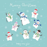 Cute and funny snowmen. Template Christmas cards. Stock Photo