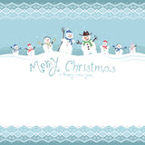 Cute and funny snowmen. Template Christmas cards Royalty Free Stock Photos