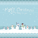 Cute and funny snowmen. Template Christmas cards.  Royalty Free Stock Image