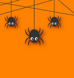 Cute funny spiders and cobweb Royalty Free Stock Images