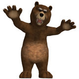 Cute and funny toon bear. 3D rendering with clipping path and shadow over white Royalty Free Stock Photo