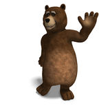 Cute and funny toon bear. 3D rendering with clipping path and shadow over white Royalty Free Stock Photography