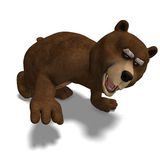 Cute and funny toon bear. 3D rendering with clipping path and shadow over white stock illustration
