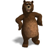 Cute and funny toon bear. 3D rendering with clipping path and shadow over white Stock Image