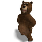 Cute and funny toon bear. 3D rendering with clipping path and shadow over white Stock Images