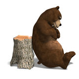 Cute and funny toon bear. 3D rendering with. Clipping path and shadow over white Royalty Free Stock Images