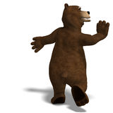 Cute and funny toon bear. 3D rendering with Royalty Free Stock Photo