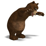Cute and funny toon bear. 3D rendering with. Clipping path and shadow over white stock illustration