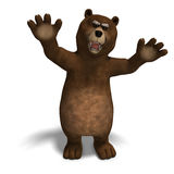 Cute and funny toon bear. 3D rendering with Stock Photography
