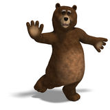Cute and funny toon bear. 3D rendering with. Clipping path and shadow over white royalty free illustration