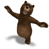 Cute and funny toon bear. 3D rendering with. Clipping path and shadow over white Royalty Free Stock Photos