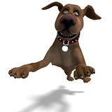 The cute and funny toon dog is a bit silly. 3D rendering with clipping path and shadow over white royalty free illustration