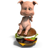 Cute and funny toon pig served as a meal Royalty Free Stock Photography