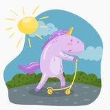 Cute funny unicorn riding kick scooter in sumer day vector royalty free illustration