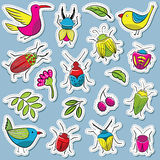 Cute and funny vector bugs with birds and plants stickers set Royalty Free Stock Photo
