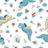 Cute funny vector seamless pattern. Hand drawn doodle  Royalty Free Stock Photography
