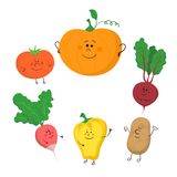 Cute funny vegetables vector set Stock Photo