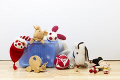 Assortment of cute vintage children toys stock photo
