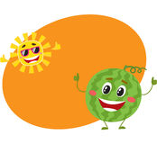 Cute, funny watermelon and sun characters, hot summer time. Cute and funny watermelon and sun characters, symbols of hot summer time, cartoon vector illustration Royalty Free Stock Image