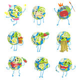 Cute funny world Earth emoji showing different emotions set of colorful characters vector Illustrations Stock Photo