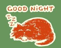 Cute fur cat is asleep. Vector illustration. royalty free stock photos