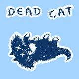 Cute fur the cat dead and lies. Vector illustration. royalty free stock photo