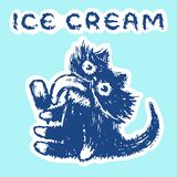 Cute fur cat eats ice cream. Vector illustration. stock images