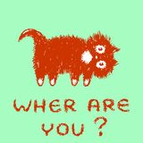 Cute fur cat looking for you. Vector illustration. royalty free stock images