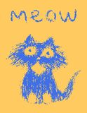 Cute fur cat says meow. Vector illustration. royalty free stock photos