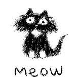 Cute fur cat says meow. Vector illustration. stock photography