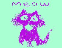Cute fur cat says meow. Vector illustration. royalty free stock photo