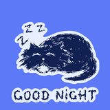Cute fur cat sleeps and snores. Vector illustration. stock photo