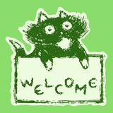 Cute fur cat with tablet welcome. Vector illustration. stock photo