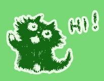 Cute fur friendly cat says hi. Vector illustration. royalty free stock photos