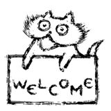 Cute fur friendly cat with tablet welcome. Vector illustration. stock photos