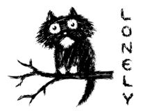 Cute fur lonly cat sits on tree branch. Vector illustration. royalty free stock images