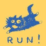 Cute fur running cat. Vector illustration. stock photography