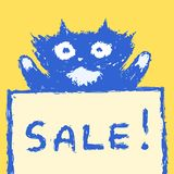 Cute fur sale cat. Vector illustration. royalty free stock photography