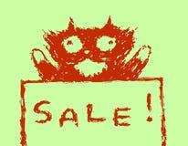 Cute fur sale cat. Vector illustration. stock image
