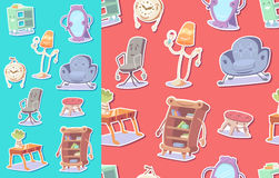Cute furniture seamless pattern Royalty Free Stock Images
