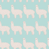 Cute furry alpaca seamless pattern. Royalty Free Stock Photo