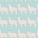 Cute furry alpaca seamless pattern. Royalty Free Stock Photo