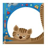 Cute furry cat animal vector. Cartoon cat domestic animal. Cartoon kitty character, adorable vector cat. Cartoon feline cat funny mammal pet. Fuffy kitty friend Stock Photography